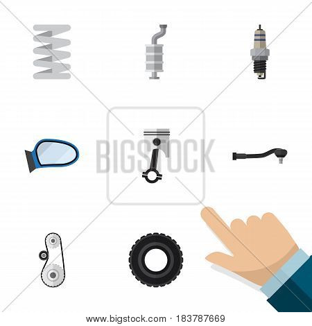 Flat Auto Set Of Cambelt, Input Technology, Wheel And Other Vector Objects. Also Includes Combustion, Belt, Spark Elements.