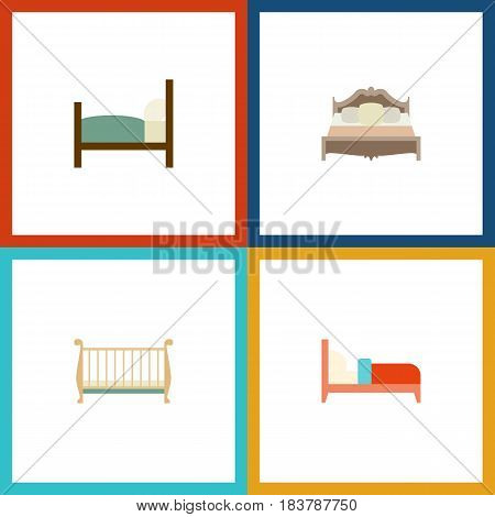 Flat Bedroom Set Of Bed, Bedroom, Bearings And Other Vector Objects. Also Includes Cot, Bearings, Bedroom Elements.