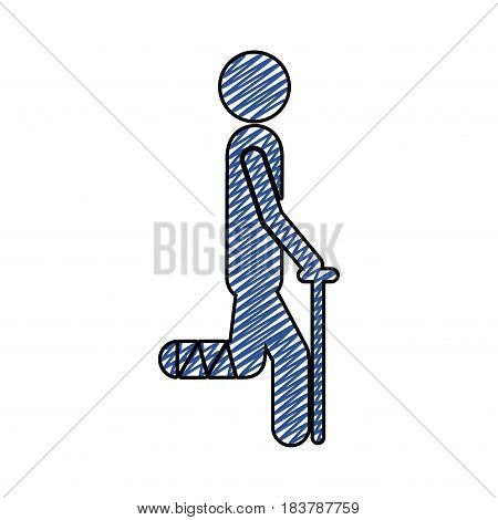 color pencil drawing of pictogram bandaged leg patient icon flat vector illustration