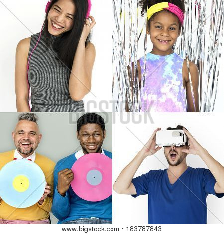 Diverse People Enjoy Life Hobby Studio Isolated Collage