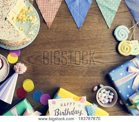 Birthday Celebration with Cake Presents Card Copy Space