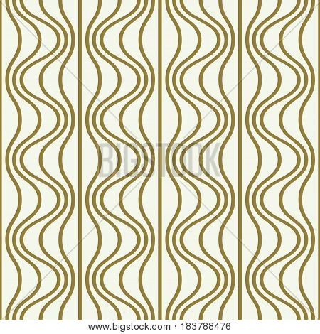 Vector endless pattern created with thin undulate stripes and circles seamless composition. Continuous interlace texture can be used as website background and as wrapping paper.
