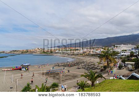 Beautiful coastal view of El Duque beach in Costa Adeje Tenerife Canary islands Spain.