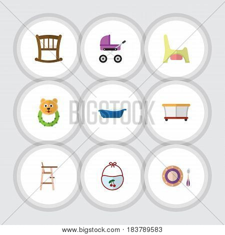 Flat Baby Set Of Infant Cot, Rattle, Baby Plate And Other Vector Objects. Also Includes Children, Bear, Playpen Elements.