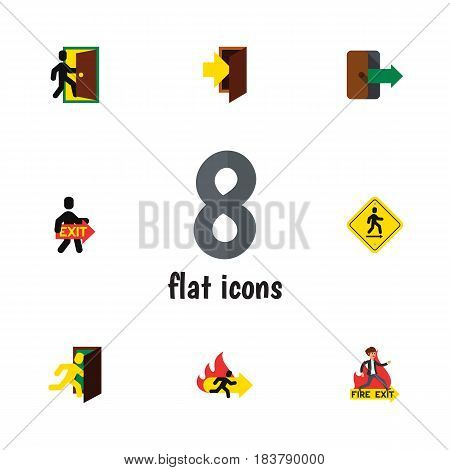 Flat Exit Set Of Direction Pointer, Exit, Open Door And Other Vector Objects. Also Includes Board, Directional, Fire Elements.