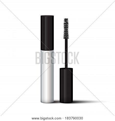 Empty Mascara Brush Vector Mock-up Illustration. Realistic 3D Empty White Eyelash Or Eyecleaner Pack