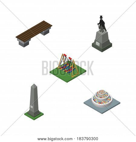 Isometric City Set Of Dc Memorial, Seesaw, Plants And Other Vector Objects. Also Includes Decoration, Seat, Sculpture Elements.