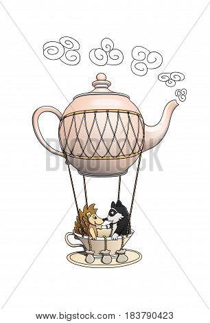Hedgehog and raccoon having a wonderful trip on a teapot balloon
