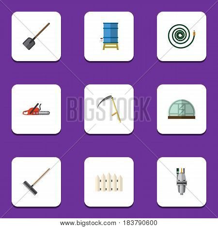 Flat  Set Of Pump, Harrow, Container And Other Vector Objects. Also Includes Cutter, Farm, Barrier Elements.