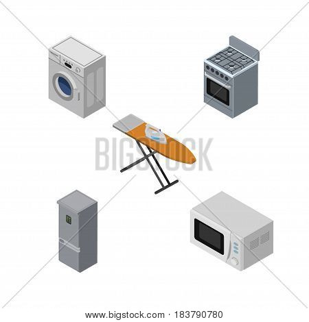 Isometric Electronics Set Of Kitchen Fridge, Cloth Iron, Stove And Other Vector Objects. Also Includes Cloth, Kitchen, Refrigerator Elements.