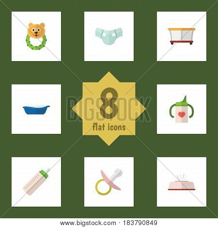 Flat Kid Set Of Feeder, Nipple, Bathtub And Other Vector Objects. Also Includes Pampers, Pacifier, Baby Elements.