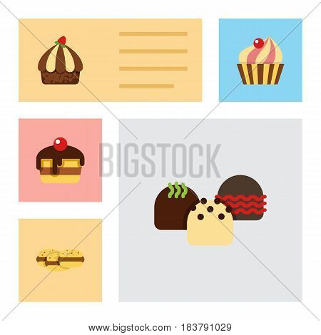 Flat Cake Set Of Sweetmeat, Cupcake, Cake And Other Vector Objects. Also Includes Delicious, Cupcake, Shortcake Elements.