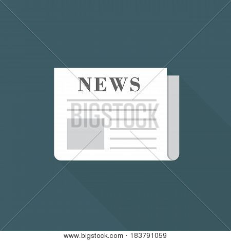 Flat Design of Newspaper Illustration. Daily Newspaper Icon with Long Shadow