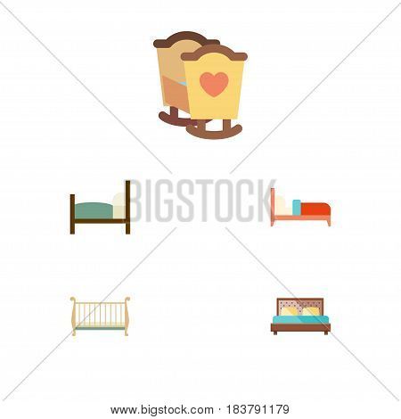 Flat Mattress Set Of Cot, Crib, Hostel And Other Vector Objects. Also Includes Hostel, Crib, Mattress Elements.