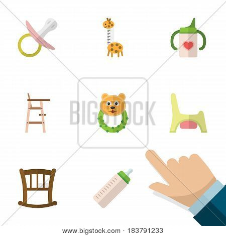 Flat Child Set Of Toy, Rattle, Toilet And Other Vector Objects. Also Includes Rattle, Baby, Feeder Elements.