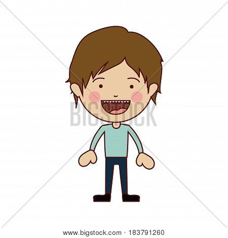 color silhouette of smiling boy standing with short hair and informal clothes vector illustration