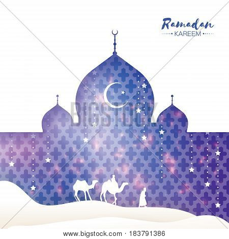 Ramadan Kareem. Arabic Mosque, landscape, camel, stars. Paper cut style. Arabesque pattern. Crescent Moon. Holy month of muslim. Symbol of Islam. Origami Greeting card. Blue background Vector