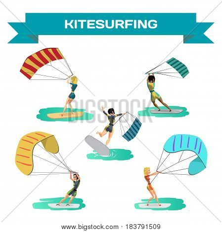Set of women drive at kite surfing. Girls windsurfing on water surface with air kite. Vector flat cartoon illustration on a isolated background