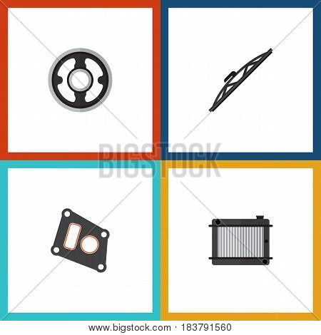 Flat Auto Set Of Belt, Windshield, Gasket And Other Vector Objects. Also Includes Packing, Heater, Thermostat Elements.