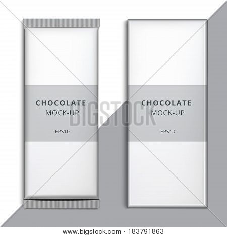 Realistic blank 3D chocolate bar template design. Choco packaging vector mockup. Product white empty branding box pack with wrapper isolated.
