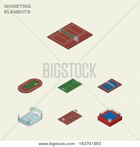 Isometric Competition Set Of Tennis, Ice Games, Soccer And Other Vector Objects. Also Includes Fighting, Field, Run Elements.