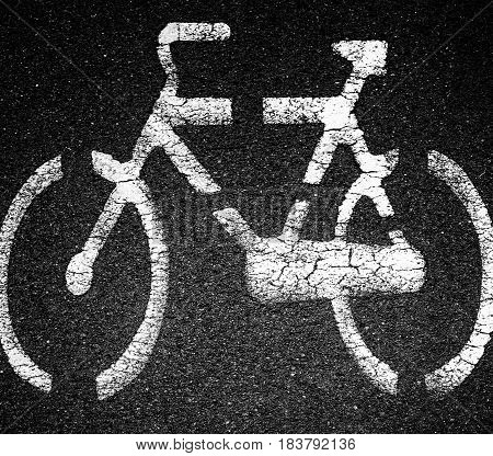 White bicycle sign on asphalt bike lane on city street. Concept background for many use.