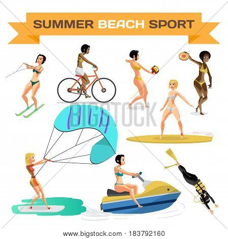 Set of summer beach sports. Women are engaged in volleyball, diving, cycling, surfing, kite, water skiing, scooter. Flat cartoon isolated vector illustration