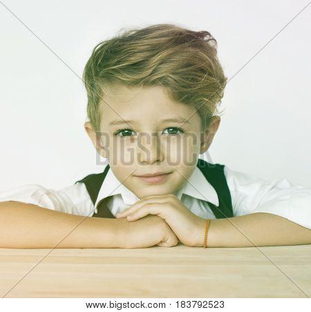 Elementary Age Boy Smart Thinking Studio Portrait