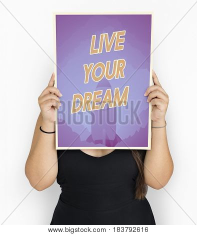People holding aspiration word quote banner board