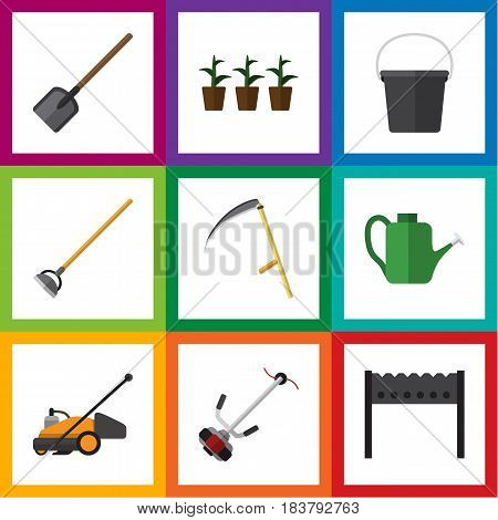 Flat Farm Set Of Cutter, Lawn Mower, Grass-Cutter And Other Vector Objects. Also Includes Shovel, Spade, Lawn Elements.