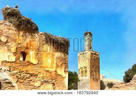 Colorful painting of Chellah, near Rabat, Roman ruins and Marinid Necropolis, Morocco