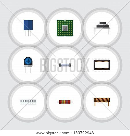 Flat Technology Set Of Mainframe, Resistor, Receptacle And Other Vector Objects. Also Includes Transducer, Mainframe, Electronics Elements.