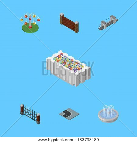 Isometric Street Set Of Fence, Park Decoration, Barrier And Other Vector Objects. Also Includes Metal, Flower, Water Elements.