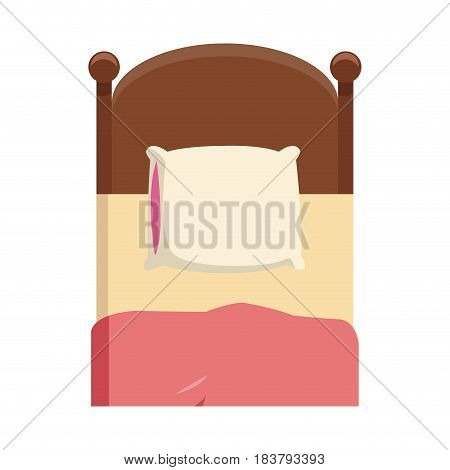 single bed wooden pillow bedding vector illustration