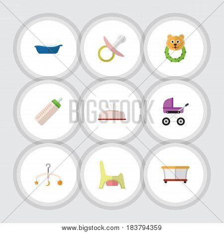 Flat Kid Set Of Nipple, Tissue, Stroller And Other Vector Objects. Also Includes Napkin, Playpen, Beanbag Elements.