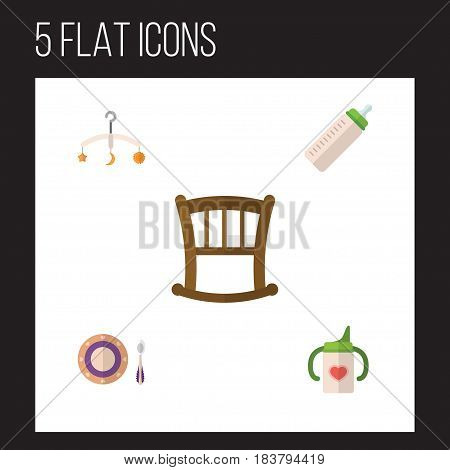 Flat Infant Set Of Baby Plate, Feeder, Infant Cot And Other Vector Objects. Also Includes Bottle, Cot, Feeder Elements.