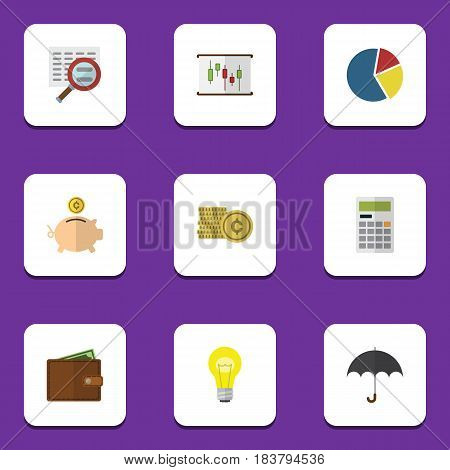 Flat Exchequer Set Of Parasol, Calculate, Billfold And Other Vector Objects. Also Includes Umbrella, Calculate, Search Elements.