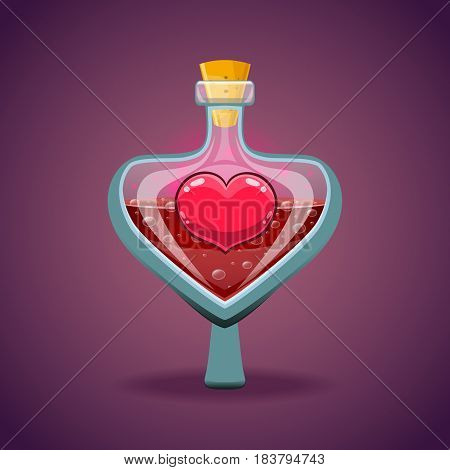 Bottle with heart, magic elixir. Love potion