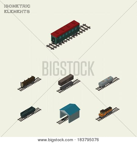 Isometric Transport Set Of Subway Vehicle, Depot, Lumber Shipping And Other Vector Objects. Also Includes Petroleum, Coal, Carriage Elements.