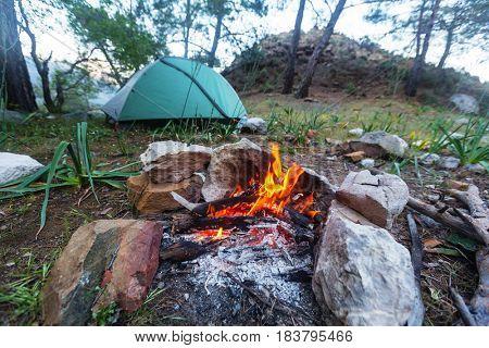 Campfire, close up shot