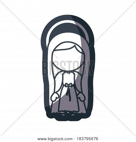 grayscale silhouette of faceless image of saint virgin mary vector illustration