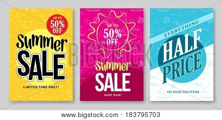 Summer sale vector banner designs set for season shopping discount promotion with colorful backgrounds and patterns. Vector illustration.