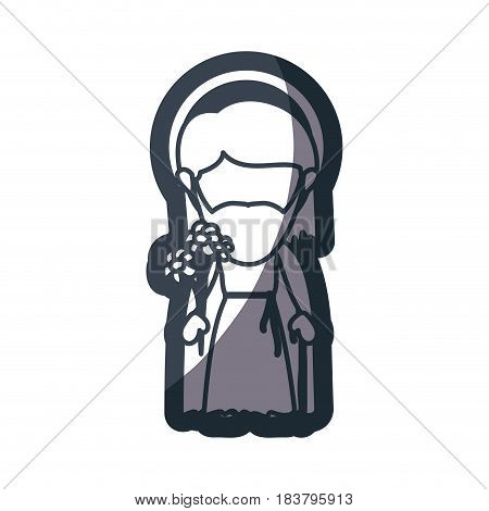grayscale silhouette of faceless image of saint joseph father vector illustration
