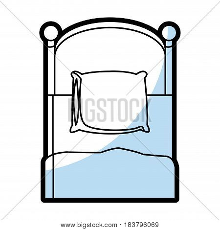 single bed wooden pillow bedding flat linear vector illustration