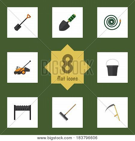 Flat Farm Set Of Cutter, Hosepipe, Lawn Mower And Other Vector Objects. Also Includes Barbecue, Hosepipe, Trowel Elements.