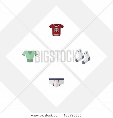 Flat Clothes Set Of T-Shirt, Casual, Underclothes And Other Vector Objects. Also Includes Underclothes, Underwear, Textile Elements.