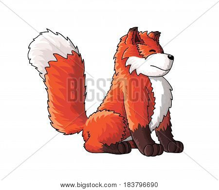 Cute smiling fox cartoon character illustration with fluffy paws