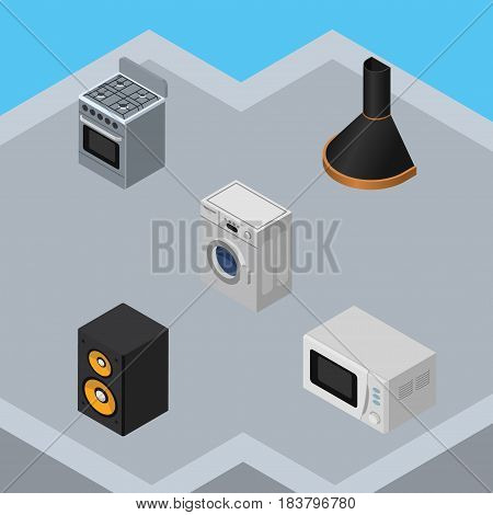 Isometric Device Set Of Air Extractor, Music Box, Microwave And Other Vector Objects. Also Includes Microwave, Machine, Box Elements.