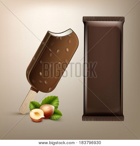 Vector Classic Popsicle Choc-ice Lollipop Ice Cream in Chocolate Glaze with Nuts on Stick with Brown Plastic Foil Wrapper and Hazelnuts for Branding Package Design Close up Isolated on Background