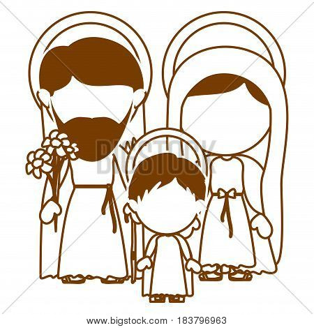 brown silhouette of faceless image of sacred family with baby jesus vector illustration